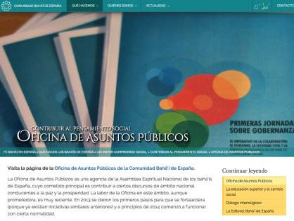 Entrevista sobre la labor de la Oficina de Asuntos Públicos de la Comunidad Bahá'í de España