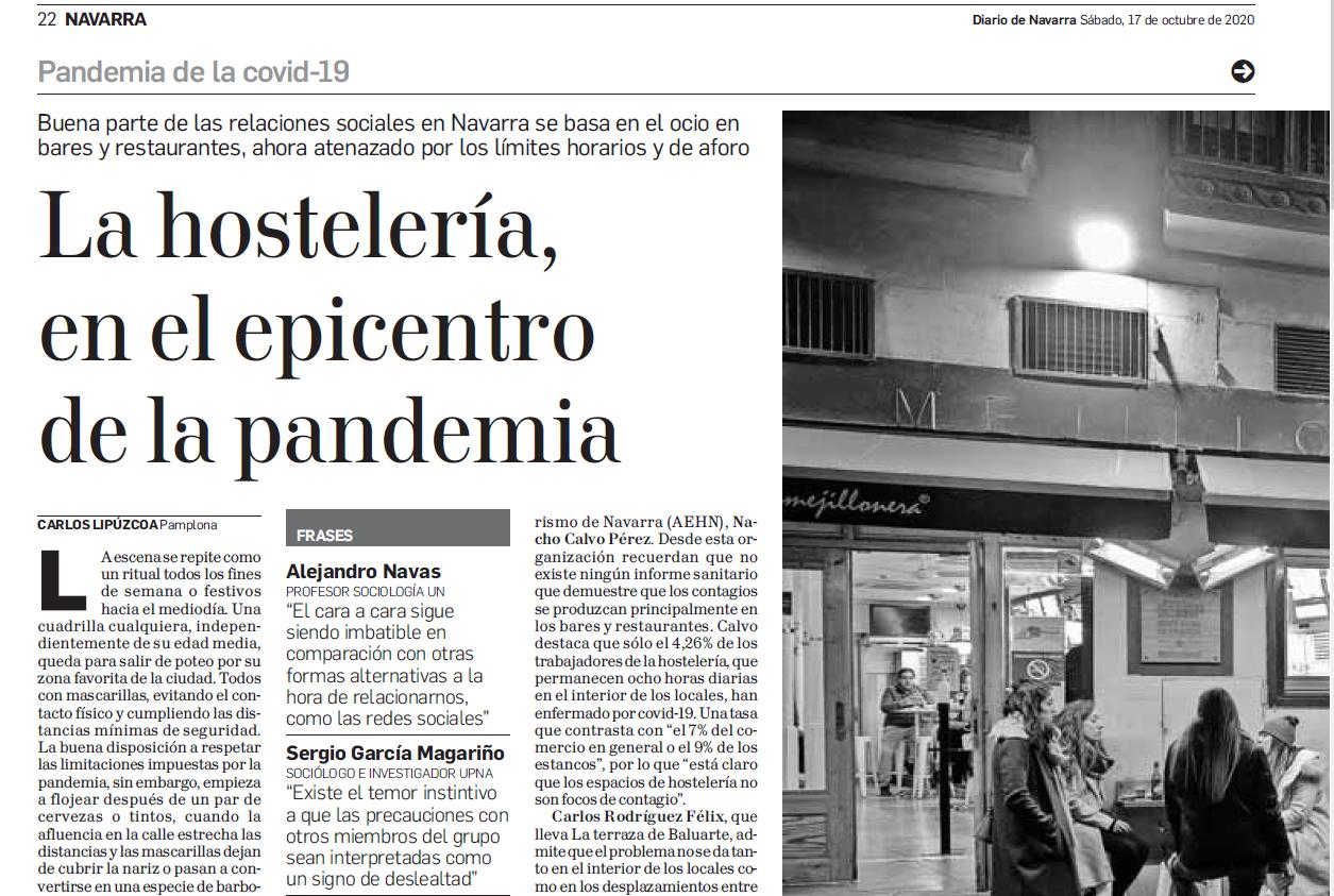 Entrevista para un reportaje del Diario de Navarra sobre el cierre de locales de comercio por la pandemia