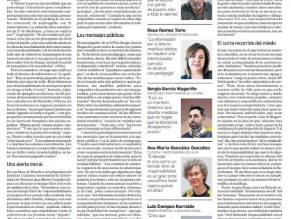 Entrevista para el reportaje del Diario de Navarra sobre la responsabilidad colectiva en la pandemia