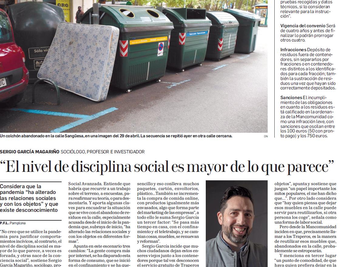 Entrevista para reportaje de Diario de Navarra sobre cambios relacionales, conductuales y tratamiento de las basuras