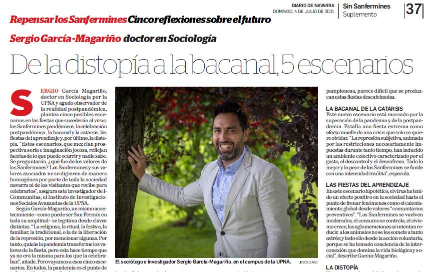 Reportaje de Diario de Navarro sobre el futuro de los San Fermines: Cindo Escenarios desde la distopía hasta la catarsis