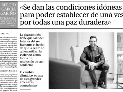 Reportaje en el Diario de Ávila sobre los desafíos para la Paz