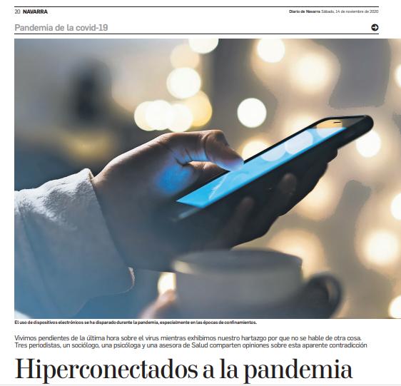 Entrevista para un Reportaje del Diario de Navarra: Hiperconectados a la pandemia