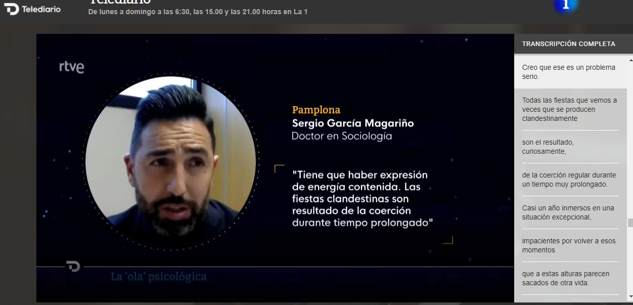 Entrevista en el telediario de RTVE 1 a las 21:00 (32' 50'')