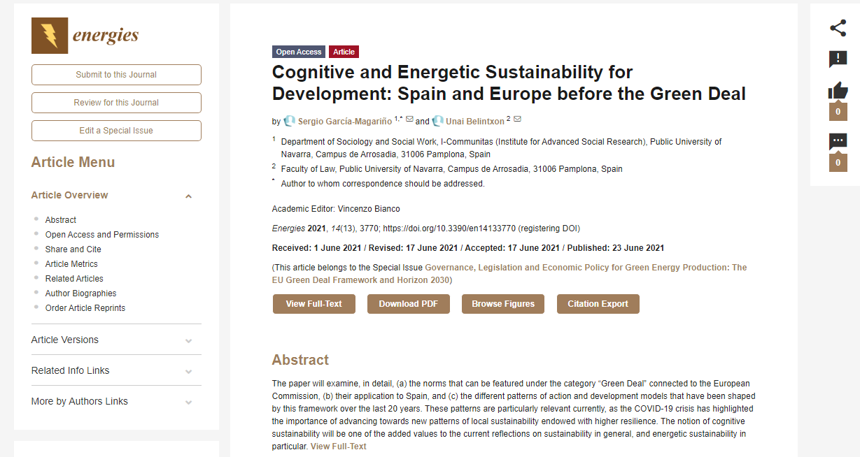 Cognitive and Energetic Sustainability for Development: Spain and Europe before the Green Deal