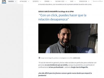 Reportaje para Diario de Navarra sobre las relaciones entre los jóvenes en tiempos de pandemia